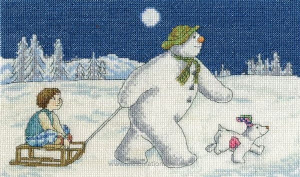 The Snowman and Snowdog Night Time Sledging Cross Stitch Kit